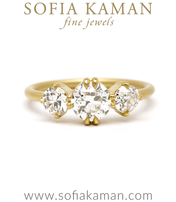 Petite Old European Cut Diamond 3 Stone Engagement Ring designed by Sofia Kaman handmade in Los Angeles using our SKFJ ethical jewelry process.