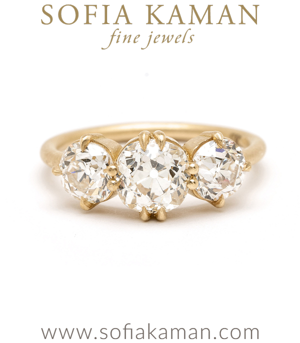 3 Stone Mine Cut Diamond Unique Engagement Ring for a Non Traditional Bride designed by Sofia Kaman handmade in Los Angeles using our SKFJ ethical jewelry process.