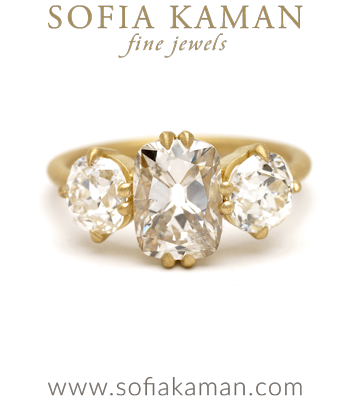 Old Mine Cut Champagne Diamond 3 Stone Engagement Ring designed by Sofia Kaman handmade in Los Angeles