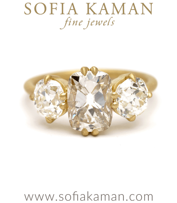 Old Mine Cut Champagne Diamond 3 Stone Engagement Ring designed by Sofia Kaman handmade in Los Angeles using our SKFJ ethical jewelry process.