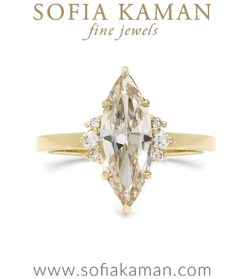 Melina Marquise Cut Champagne Diamond Unique Engagement Ring designed by Sofia Kaman handmade in Los Angeles