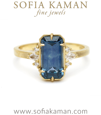 Boho Engagement Rings Blue Sapphire Boho Nature Inspired Non-traditional Engagement Ring designed by Sofia Kaman handmade in Los Angeles