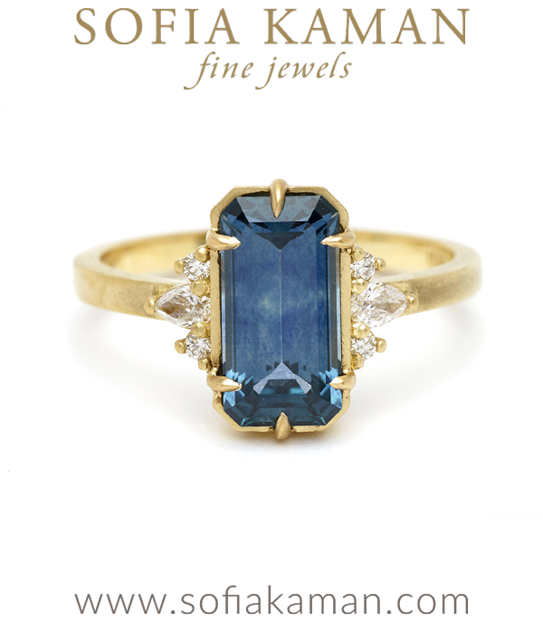 Blue Sapphire Boho Nature Inspired Non-traditional Engagement Ring designed by Sofia Kaman handmade in Los Angeles using our SKFJ ethical jewelry process.