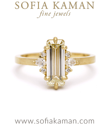 Emerald Cut Champagne Diamond Unique Engagement Ring designed by Sofia Kaman handmade in Los Angeles