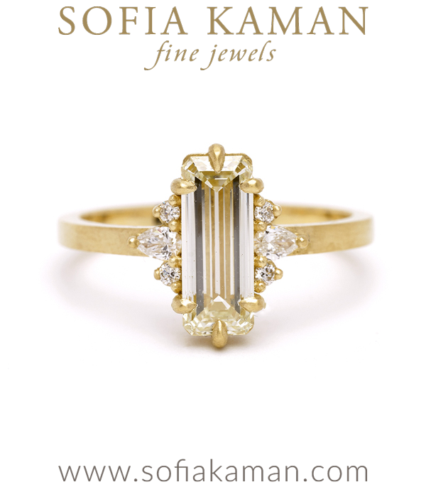 Emerald Cut Champagne Diamond Unique Engagement Ring designed by Sofia Kaman handmade in Los Angeles using our SKFJ ethical jewelry process.
