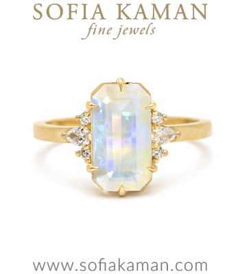 14k Matte Gold Opal Unique Engagement Rings designed by Sofia Kaman handmade in Los Angeles