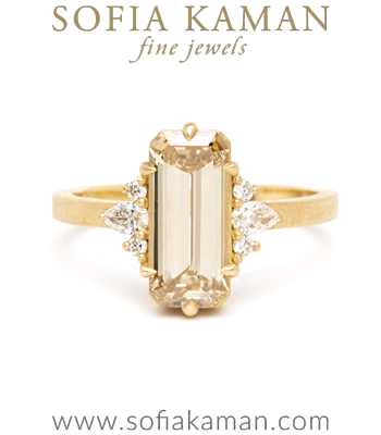 Matte Gold Emerald Cut Champagne Diamond One of a Kind Engagement Ring designed by Sofia Kaman handmade in Los Angeles