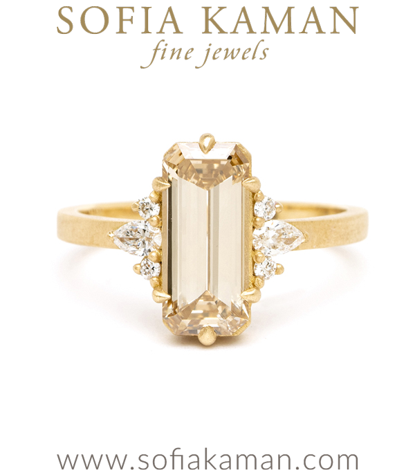 Matte Gold Emerald Cut Champagne Diamond One of a Kind Engagement Ring designed by Sofia Kaman handmade in Los Angeles using our SKFJ ethical jewelry process.
