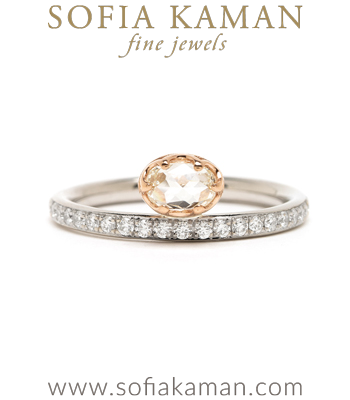 14K Gold Platinum Oval Rose Cut Diamond Ring designed by Sofia Kaman handmade in Los Angeles