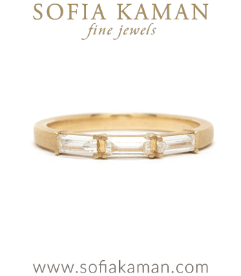 14K Gold Baguette Diamond Wedding Band designed by Sofia Kaman handmade in Los Angeles