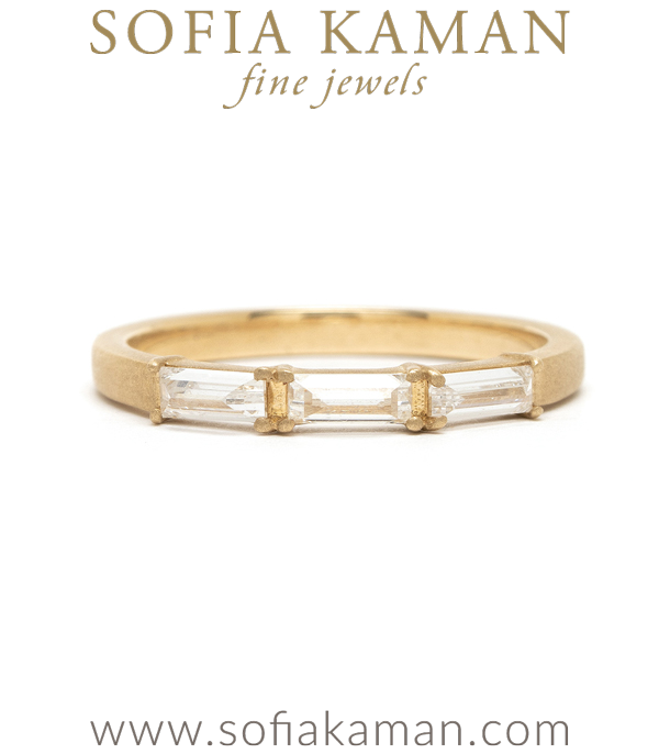 14K Gold Baguette Diamond Wedding Band designed by Sofia Kaman handmade in Los Angeles using our SKFJ ethical jewelry process.