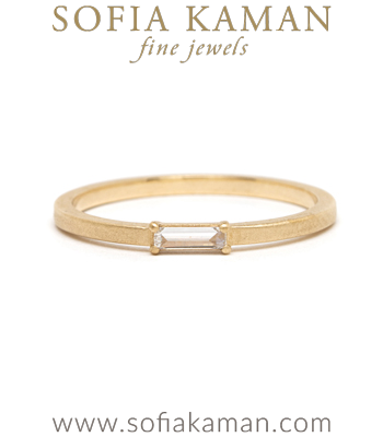 Gold Baguette Diamond Stardust Wedding Band for Unique Engagement Rings designed by Sofia Kaman handmade in Los Angeles