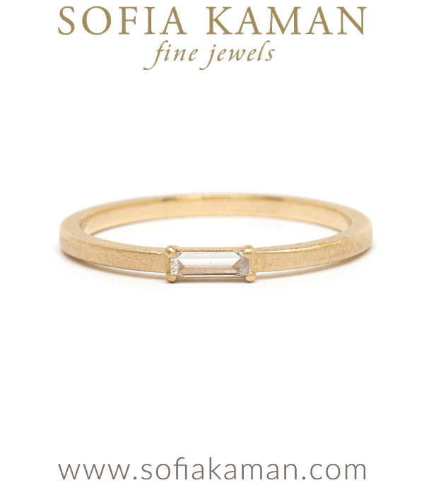 Gold Baguette Diamond Stardust Wedding Band for Unique Engagement Rings designed by Sofia Kaman handmade in Los Angeles using our SKFJ ethical jewelry process.