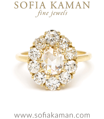 Rose Cut Champagne Diamond One of a Kind Engagement Ring designed by Sofia Kaman handmade in Los Angeles