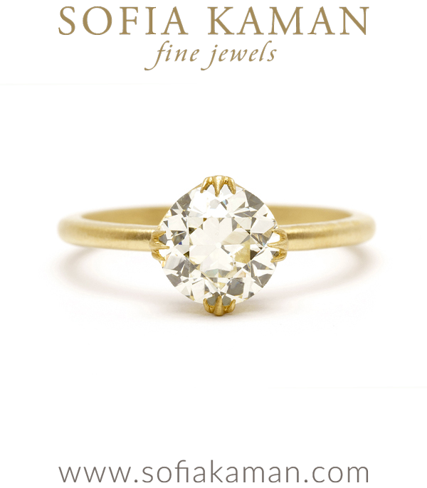 One of a Kind Antique Diamond Engagement Ring designed by Sofia Kaman handmade in Los Angeles using our SKFJ ethical jewelry process.
