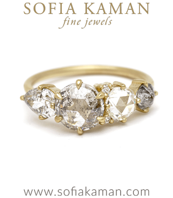 Nature Inspired 1.49ct Salt and Pepper Diamond Engagement Ring designed by Sofia Kaman handmade in Los Angeles