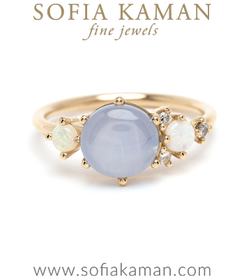 Star Sapphire and Opal Unique Engagement Ring designed by Sofia Kaman handmade in Los Angeles