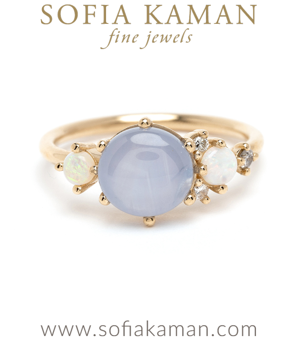 Star Sapphire and Opal Unique Engagement Ring designed by Sofia Kaman handmade in Los Angeles using our SKFJ ethical jewelry process.