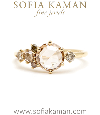 One of a Kind A-Symmetric Champagne Diamond Engagement Ring designed by Sofia Kaman handmade in Los Angeles