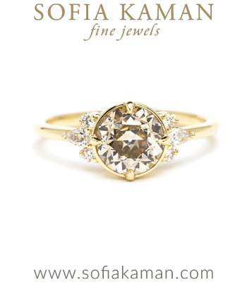 Darby Champagne Diamond Unique Engagement Ring designed by Sofia Kaman handmade in Los Angeles