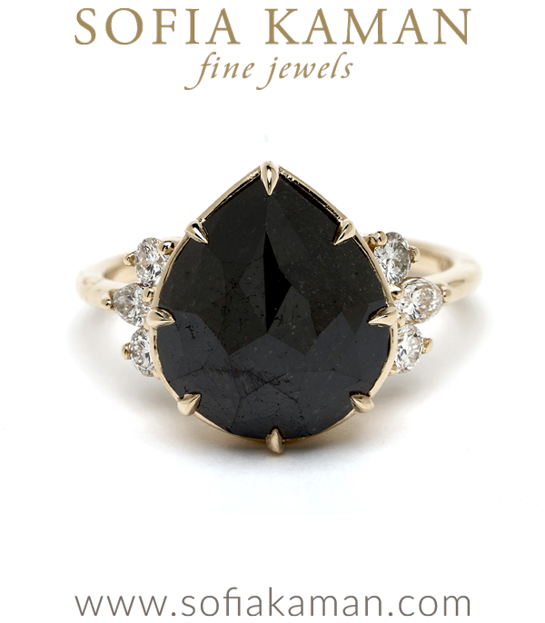 Black Diamond Unique Engagement Ring for the Non-Traditional Bride designed by Sofia Kaman handmade in Los Angeles using our SKFJ ethical jewelry process.