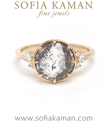 Darby Vintage Inspired Salt and Pepper Diamond Engagement Ring designed by Sofia Kaman handmade in Los Angeles