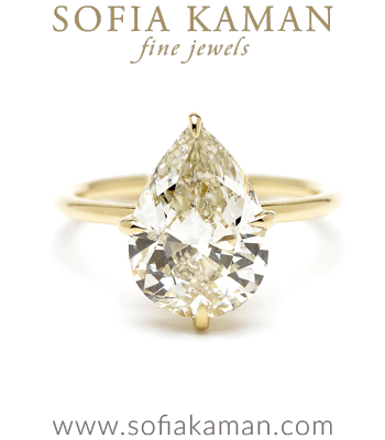 4.00ct Pear Shaped Diamond Unique Engagement Ring designed by Sofia Kaman handmade in Los Angeles