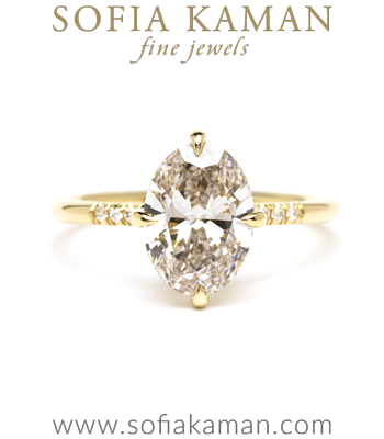 1.80ct Lab Grown Oval Cut Diamond Engagement Ring designed by Sofia Kaman handmade in Los Angeles