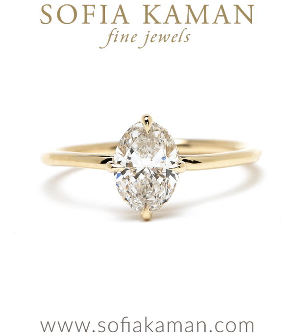 Oval Brilliant Cut Diamond Foundry Lab Created Diamond Engagement Ring In Yellow Gold With Hidden Halo designed by Sofia Kaman handmade in Los Angeles using our SKFJ ethical jewelry process.