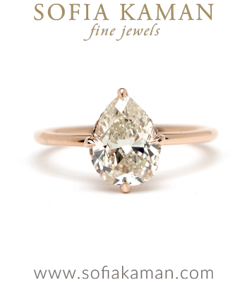 One of a Kind Antique Pear Shaped Diamond Engagement Ring for the Non Traditional Bride designed by Sofia Kaman handmade in Los Angeles