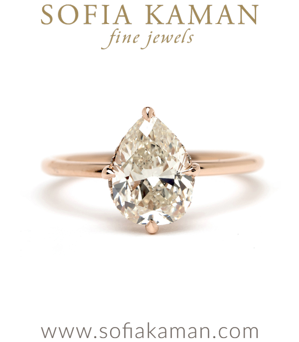 One of a Kind Antique Pear Shaped Diamond Engagement Ring for the Non Traditional Bride designed by Sofia Kaman handmade in Los Angeles using our SKFJ ethical jewelry process.