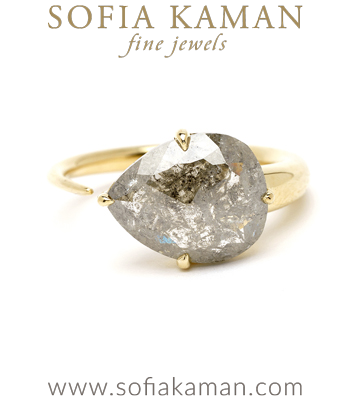 Sideways Pear Shaped Salt and Pepper Diamond Unique Engagement Ring designed by Sofia Kaman handmade in Los Angeles