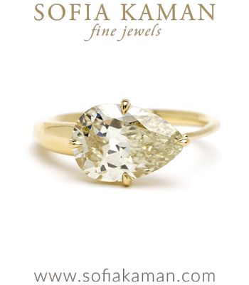 2.7ct Sideways Pear Shaped Diamond Unique Engagement Ring designed by Sofia Kaman handmade in Los Angeles