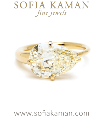 Antique Pear Cut Champagne Diamond Unique Modern Engagement Ring designed by Sofia Kaman handmade in Los Angeles