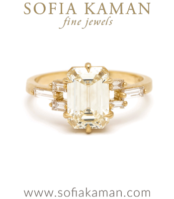 Emerald Cut 18K Matte Yellow Gold Deco Inspired Emerald Cut Champagne Diamond Engagement Ring designed by Sofia Kaman handmade in Los Angeles
