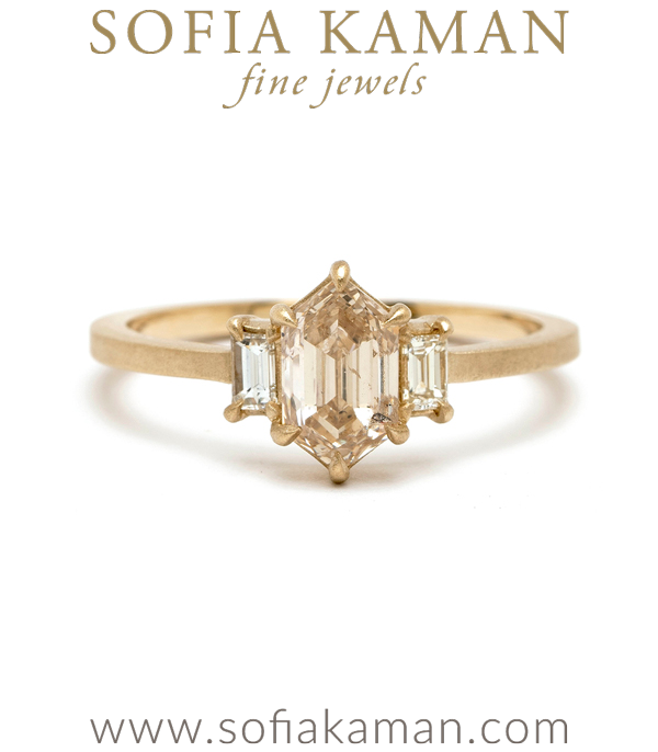 One of a Kind Art Deco Inspired Hexagon Champagne Diamond Engagement Ring designed by Sofia Kaman handmade in Los Angeles using our SKFJ ethical jewelry process.