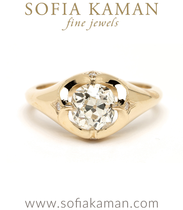 One of a Kind Engagement Ring with Old Mine Cut Diamond for a Non Traditional Bride designed by Sofia Kaman handmade in Los Angeles using our SKFJ ethical jewelry process.