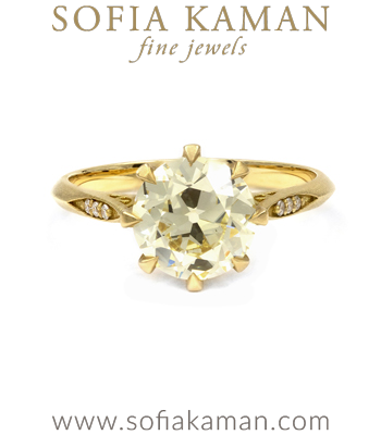 Vintage Inspired Solitaire Diamond Crown Unique Engagement Ring designed by Sofia Kaman handmade in Los Angeles