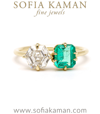 Hexagon Engagement Rings Hexagon Diamond and Emerald Two Stone Engagement Ring Makes the Perfect Unique Engagement Ring designed by Sofia Kaman handmade in Los Angeles