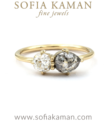 Rustic Diamond and Pear Shape Two Stone Engagement Ring designed by Sofia Kaman handmade in Los Angeles