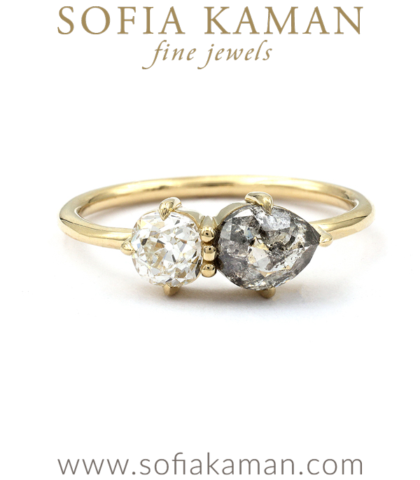 Rustic Diamond and Pear Shape Two Stone Engagement Ring designed by Sofia Kaman handmade in Los Angeles using our SKFJ ethical jewelry process.