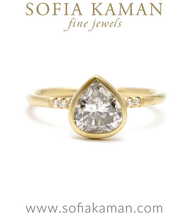 Soleil Pear Shape Salt and Pepper Diamond Unique Engagement Ring designed by Sofia Kaman handmade in Los Angeles using our SKFJ ethical jewelry process.