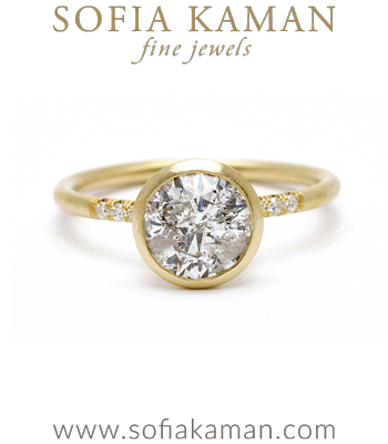 Soleil Salt and Pepper Diamond Engagement Ring for Non-traditional Brides designed by Sofia Kaman handmade in Los Angeles
