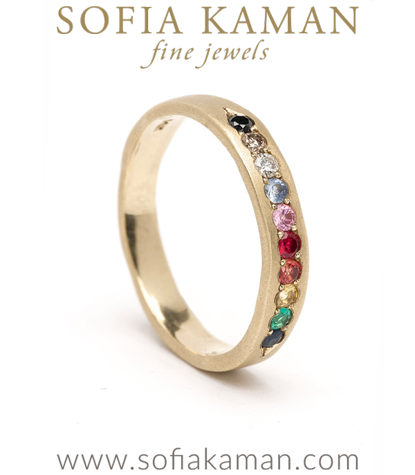 Rainbow Rings Large Gender Neutral Wedding Band Benefiting PFLAG perfect for Unique Engagement Rings designed by Sofia Kaman handmade in Los Angeles
