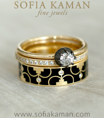The Delphine Stack of the Ring Vintage inspired Stacking Band Set designed by Sofia Kaman handmade in Los Angeles