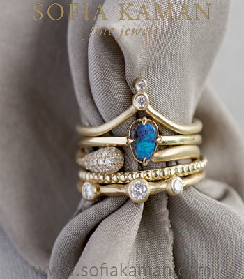 The Calypso Grecian Inspired Bohemian Stacking Ring Set designed by Sofia Kaman handmade in Los Angeles
