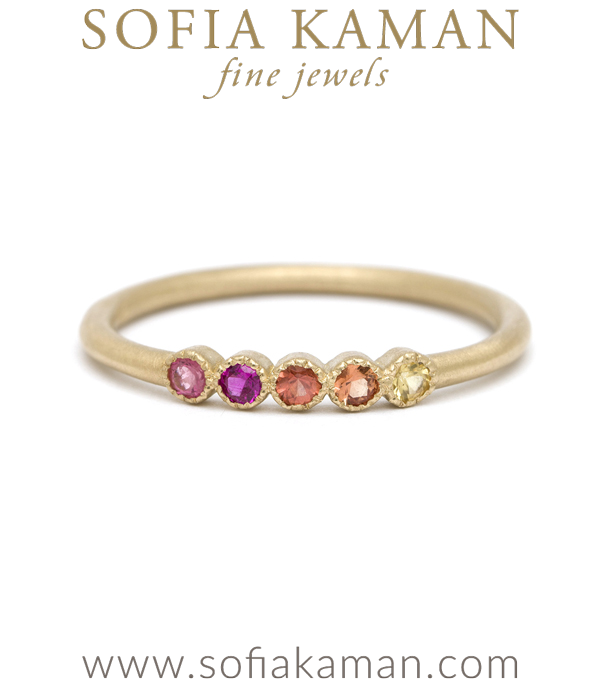 14k Gold Warm Tone Rainbow Sapphire Stacking Ring Weddng Band