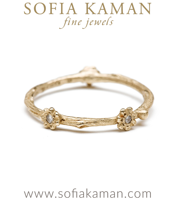 14k Gold Diamond Accent 3 Daisy Twig Stacking Ring