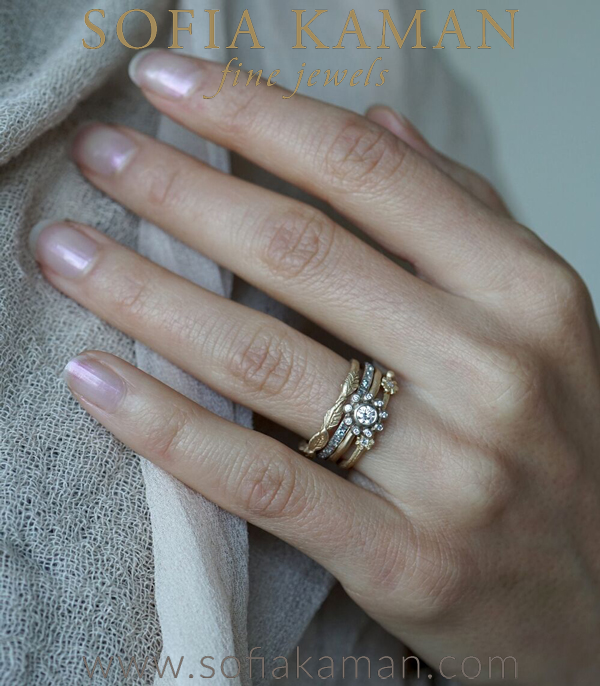 The Flora Boho Stacking Ring Set designed by Sofia Kaman handmade in Los Angeles using our SKFJ ethical jewelry process.