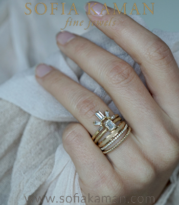 Sunrise The Evangeline Bohemian Stacking Ring Set Sold at a Discount designed by Sofia Kaman handmade in Los Angeles